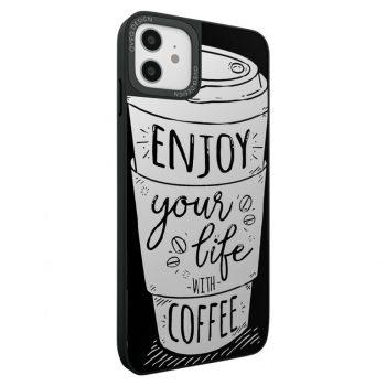 جراب أيفون تصميم Coffee Lovers زجاجي