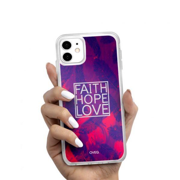 جراب أيفون تصميم Faith Hope Love لامع
