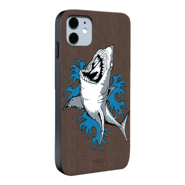 جراب أيفون تصميم Shark خشبي