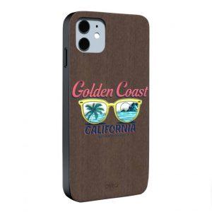جراب أيفون تصميم Golden Coast خشبي