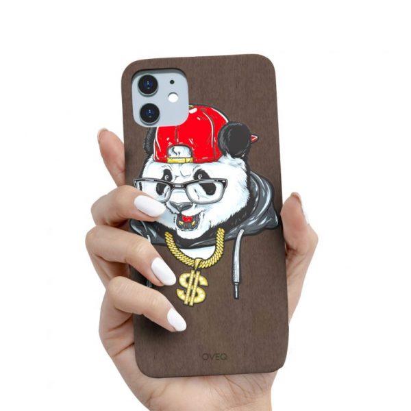 جراب أيفون تصميم Panda خشبي